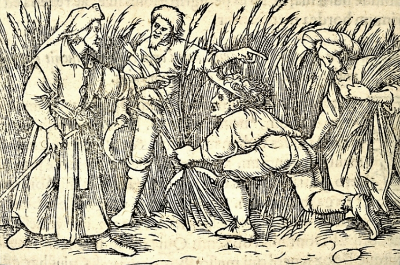 Image 2: Hans Holbein: Ruth and Boaz; Biblia Sacra iuxta Vulgatam (Paris, 1552); Adolf Bartels: Der Bauer in der deutschen Vergangenheit (Leipzig: Eugen Diederichs, 1900)