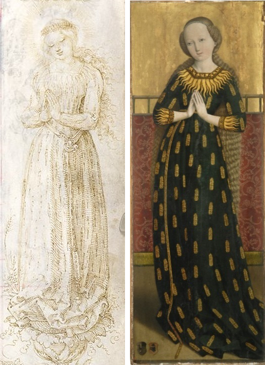 "Image 3: (Left) Albrecht Dürer: ""Mary in [Grain] Ear Dress"" (c. 1515). Randzeichnungen zum Gebetbuche des Kaisers Maximilian I (München, 1907); (Right) Maria im Ährenkleid (c. 1490), Bayerisches Nationalmuseum, Salzburg."