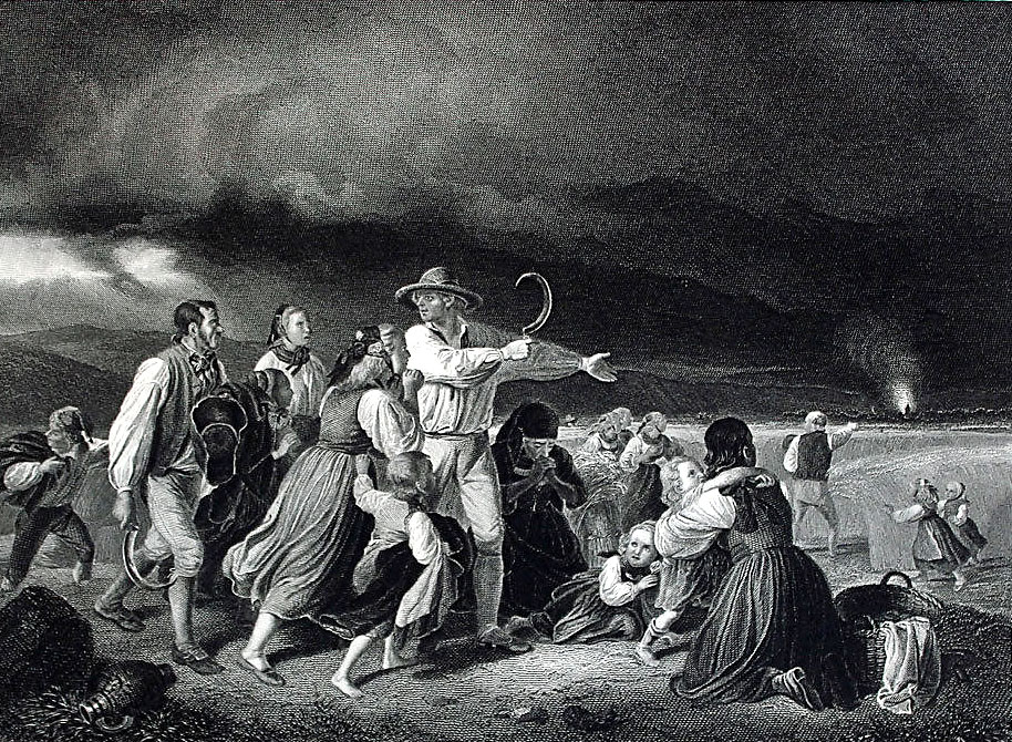 Image 7: After Jakob Becker: Reapers Fleeing a Thunderstorm (1840). Engraving on paper, 5 x 7 inches (1860); Palouse Regional Studies Collection.