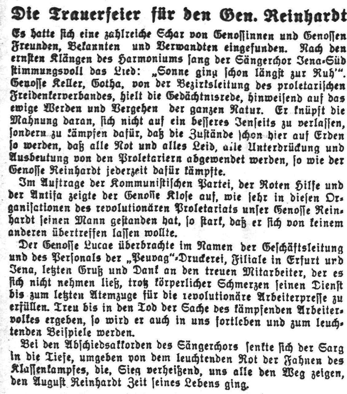 Thüringer Volksblatt, 2.9.1930: Trauerfeier für August Reinhardt Quelle: Stadtarchiv Jena (Constanze Mann)
