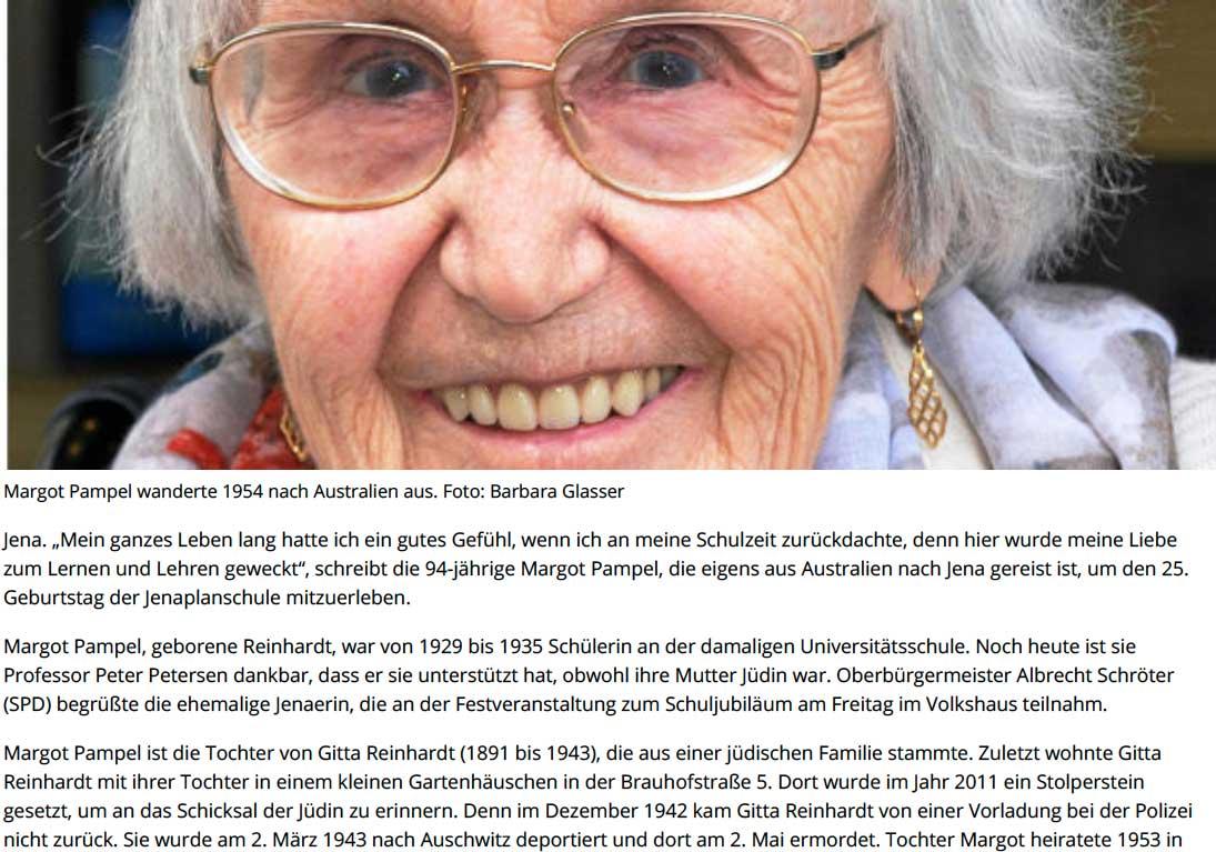 OSTTHÜRINGER Zeitung, Jena, vom 5.6.2016: Australischer Gast in der Jenaplanschule