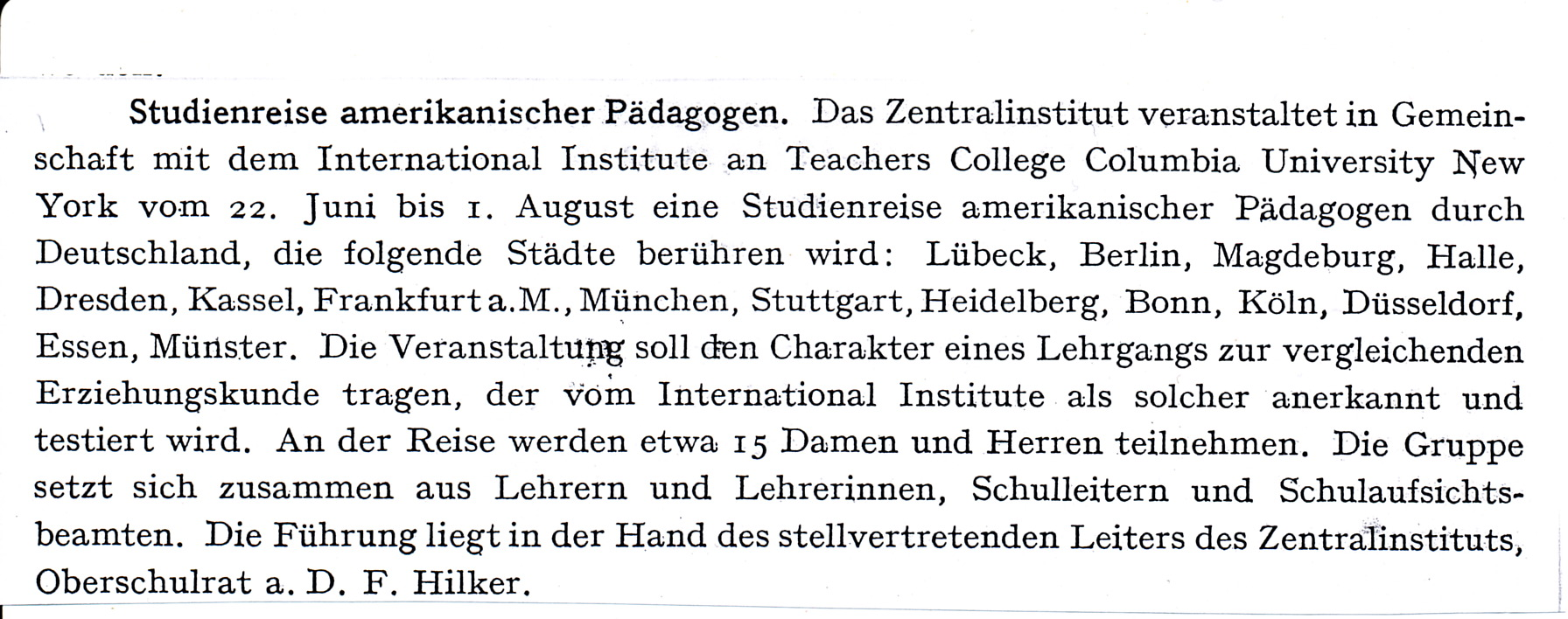 Study trip of American education specialists to Germany 1931 – Source: PZ, 11, 1931, p. 337.