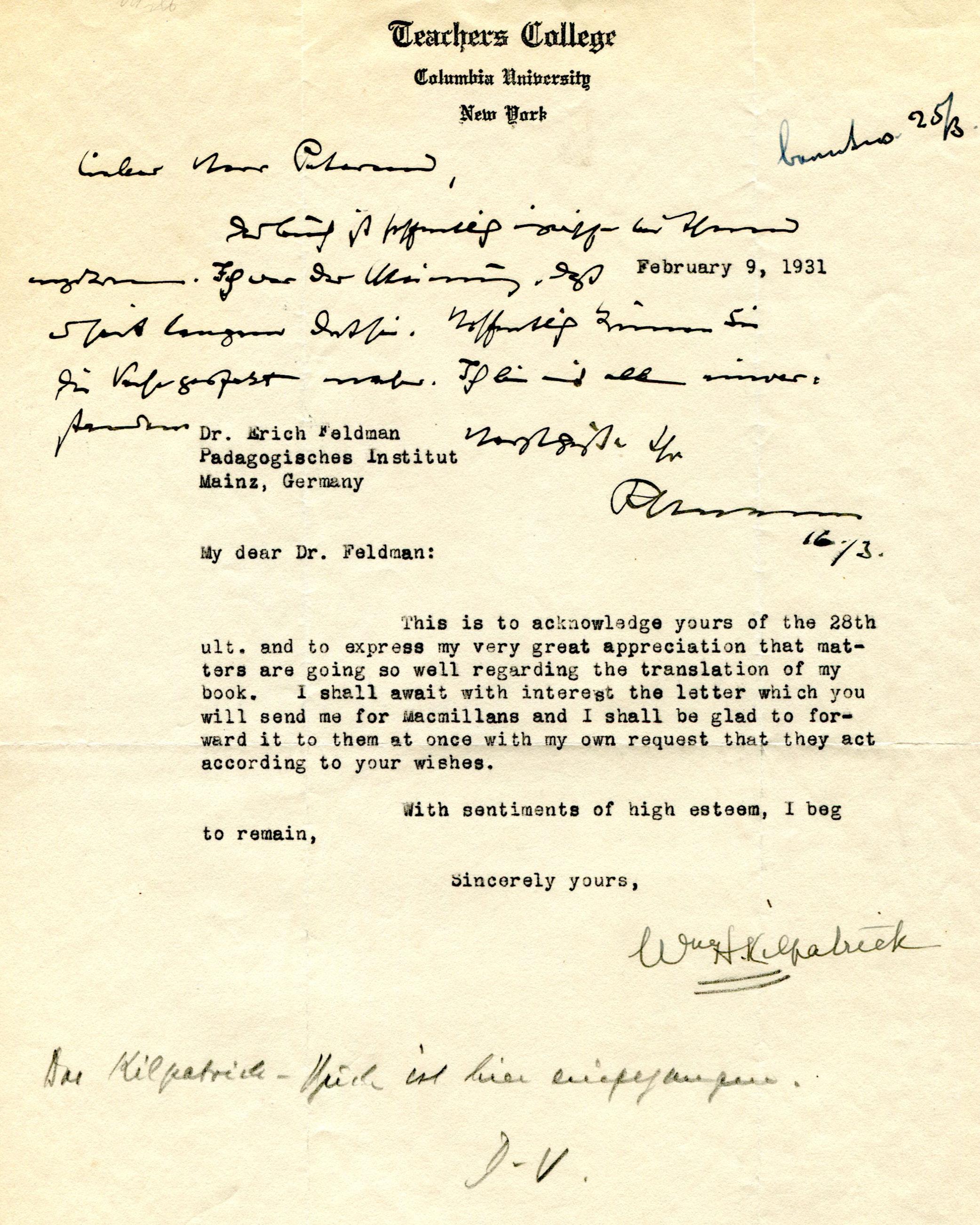 Figure 8: Letter from W.H. Kilpatrick to E. Feldmann, dated 02-09-1931 (Source: PPAV)