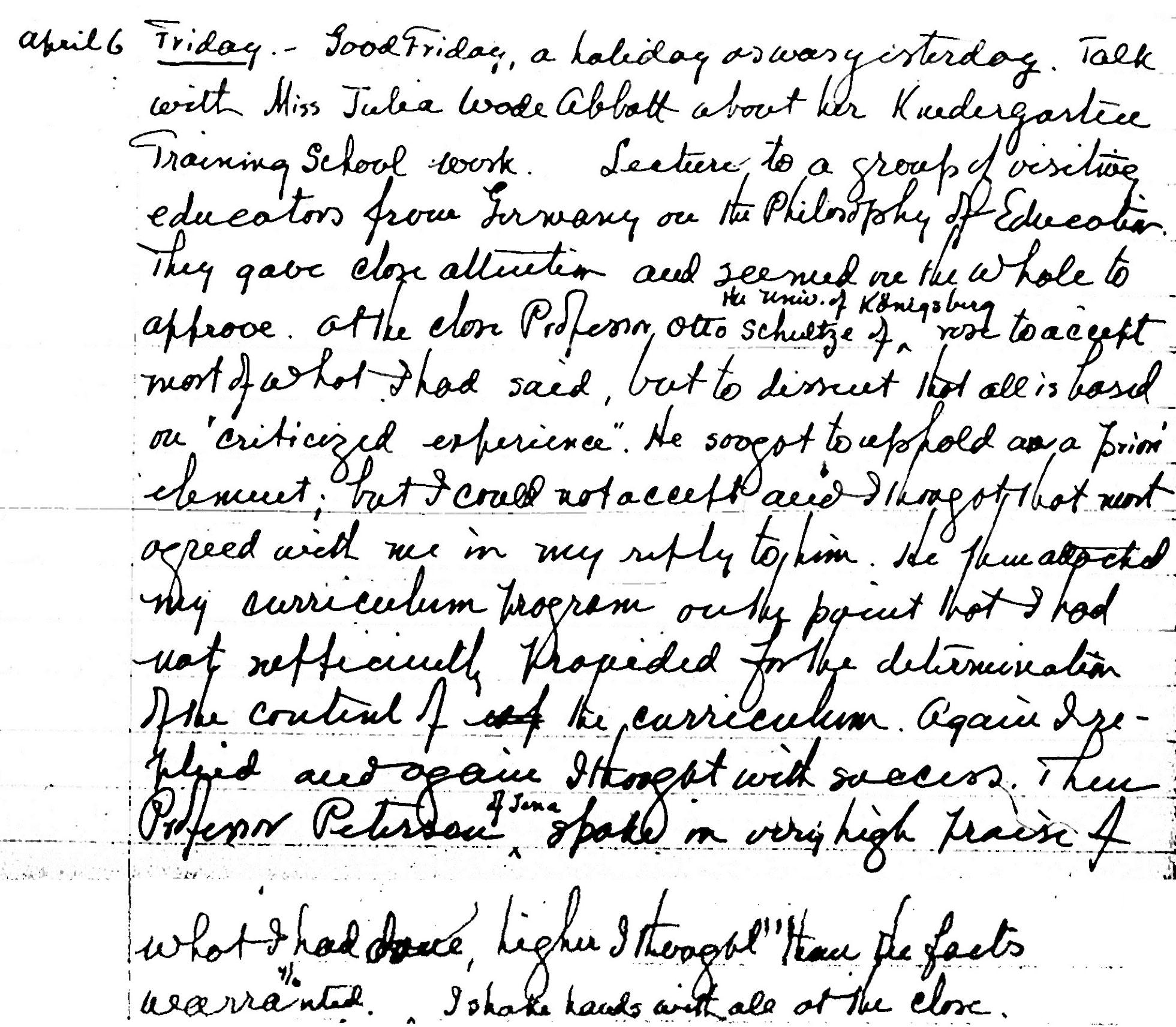 Figure 2: Mention of Peter Petersen in Kilpatrick's diary (vol. 24), April 6, 1928 (Source: GL-TCCU [GotLib])