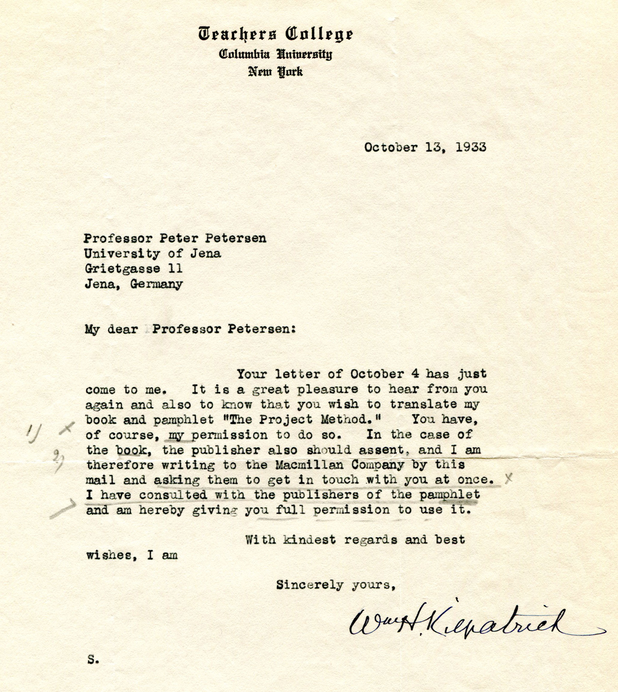 Figure 9: Letter from W.H. Kilpatrick to P. Petersen, dated 10-13-1933 (Source: PPAV)