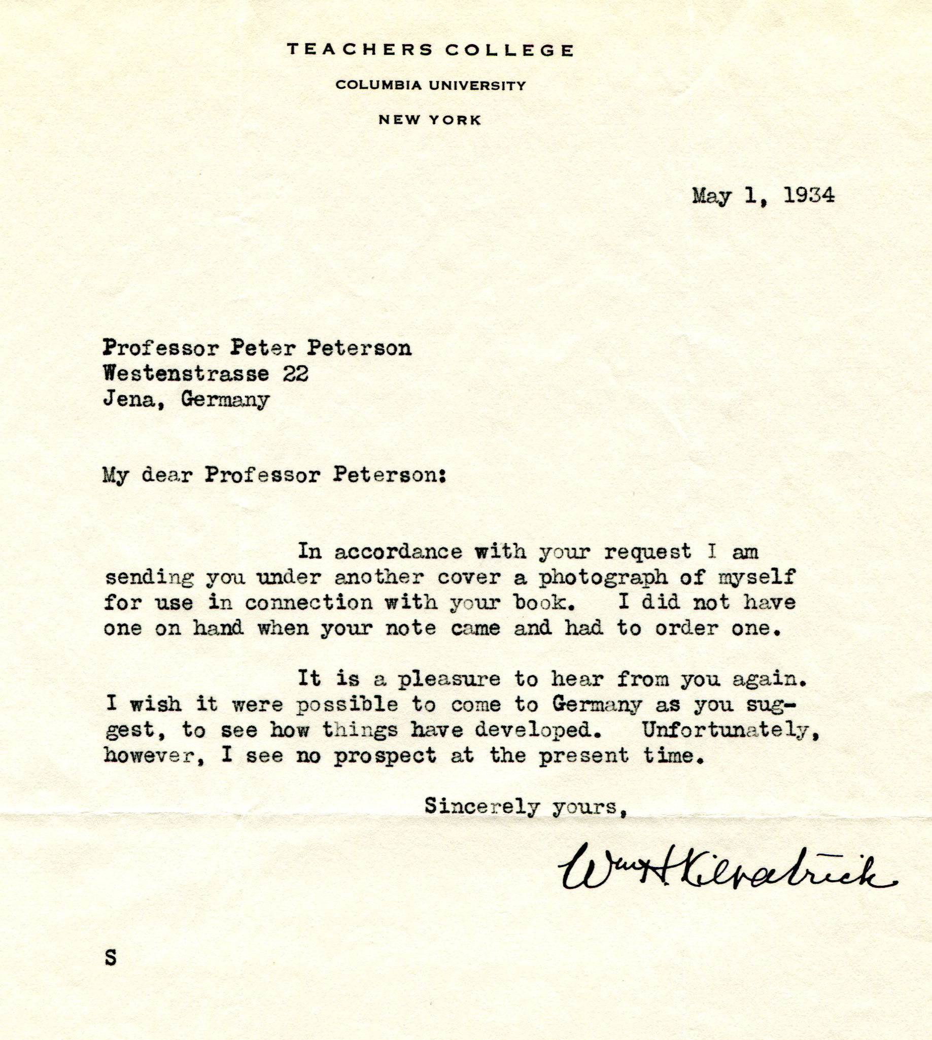 Figure 10: Letter of W.H. Kilpatrick to P. Petersen, dated May 1st, 1934 (Source: PPAV)