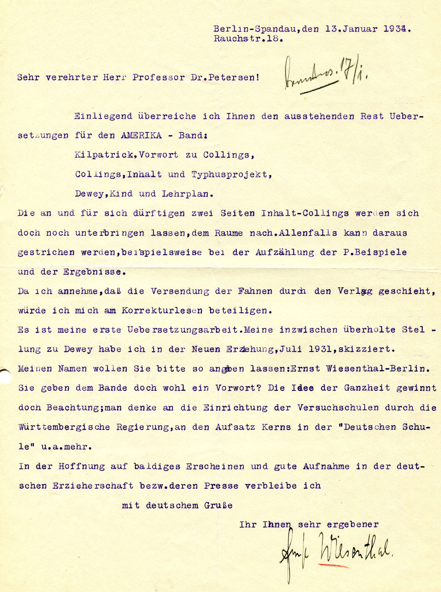 Figure 11: Letter from Ernst Wiesenthal to Peter Petersen, 01-13-1934 (Source: PPAV)