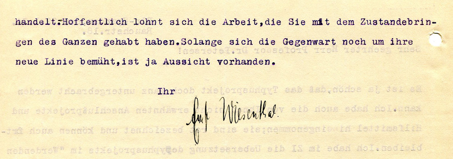 Figure 12: End of letter from Ernst Wiesenthal to Peter Petersen, dated 01-22-1934 (Source: PPAV)