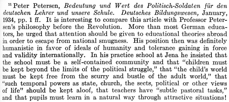 """Figure 13: """"Making the Nazis"""", Yearbook of Teachers College, N.Y. (Kandel, 1934, 465)"""