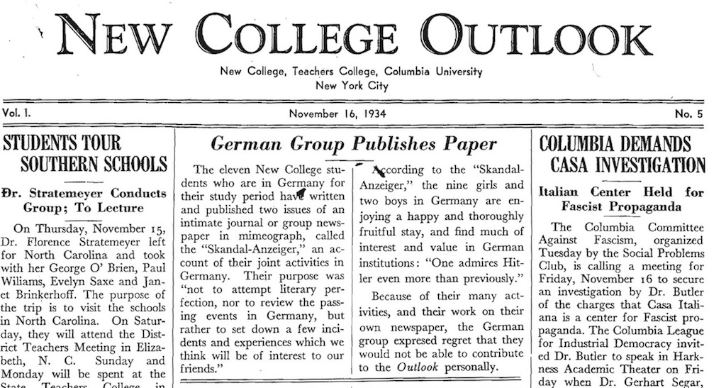 Figure 14: Report of a study trip to Germany by NC students in late summer 1934