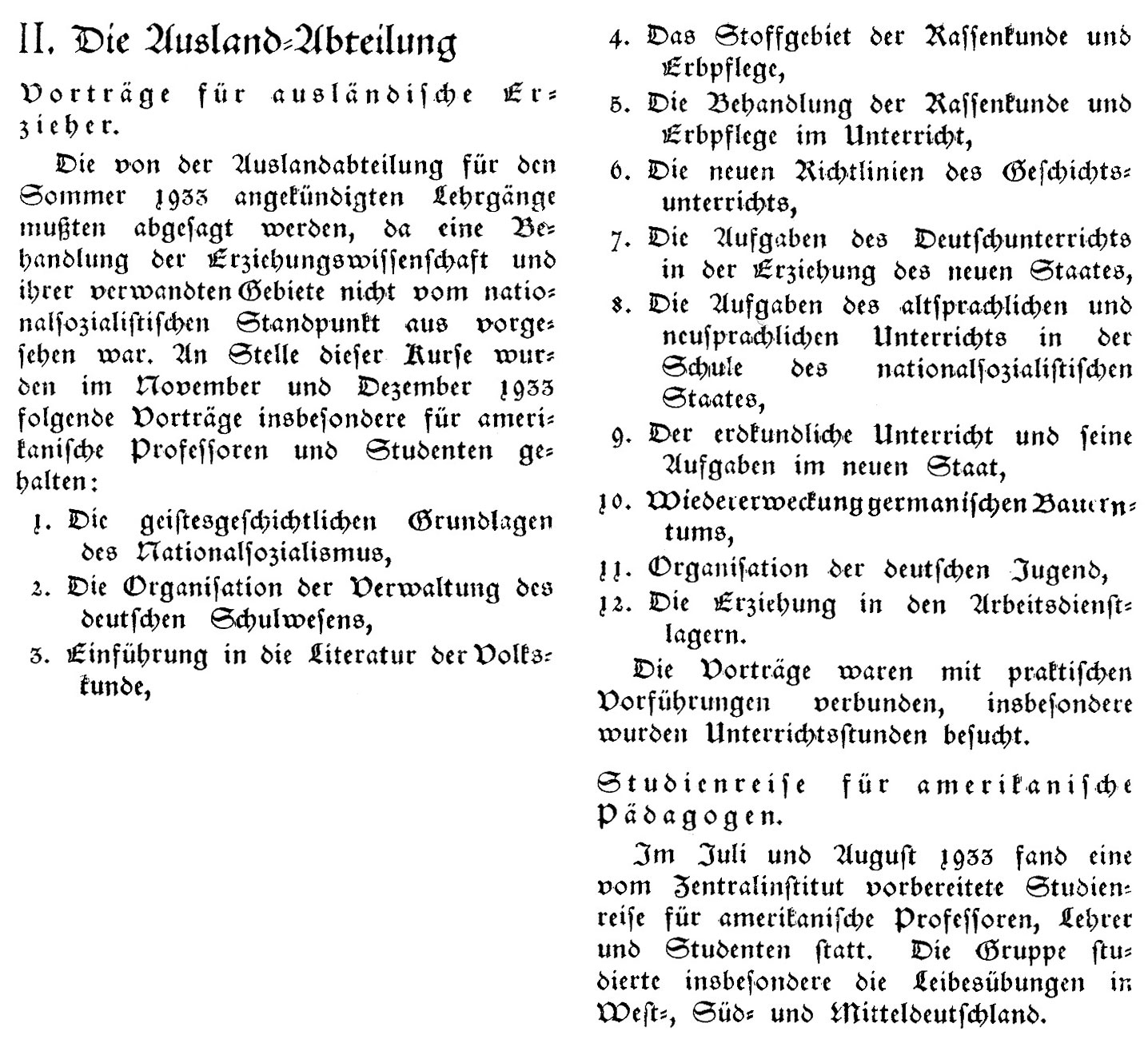 Figure 15: Extract from the annual activity report of the ZEU for 1933/34, 17 July 1933 (Source: Deutsche Volkserziehung, 1, 1934, issue 3, special section, 2)