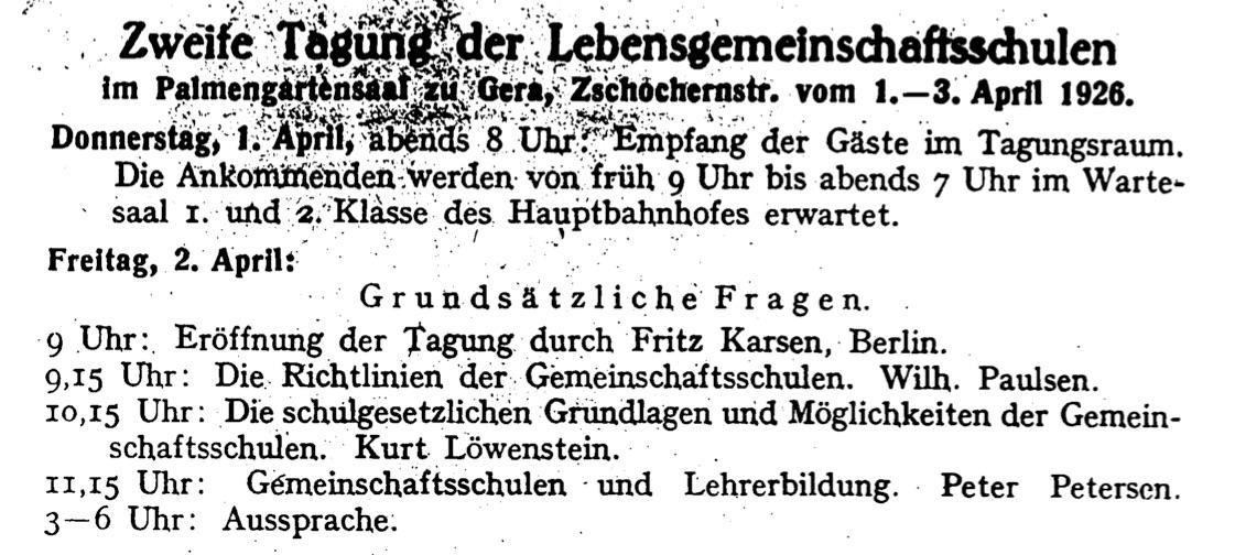 """Figure 3: Petersen in the circle of leading Marxist school reformers, Gera 1926. Program announcement. Magazine """"Lebensgemeinschaftsschule"""", 3, 1926, p. 33."""