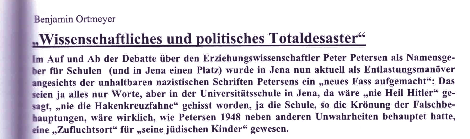 """Figure 5: Quote from B. Ortmeyer, in Dokumente, 2011, p.163: Hein Retter's book (2010) as """"scientific and political total disaster""""."""