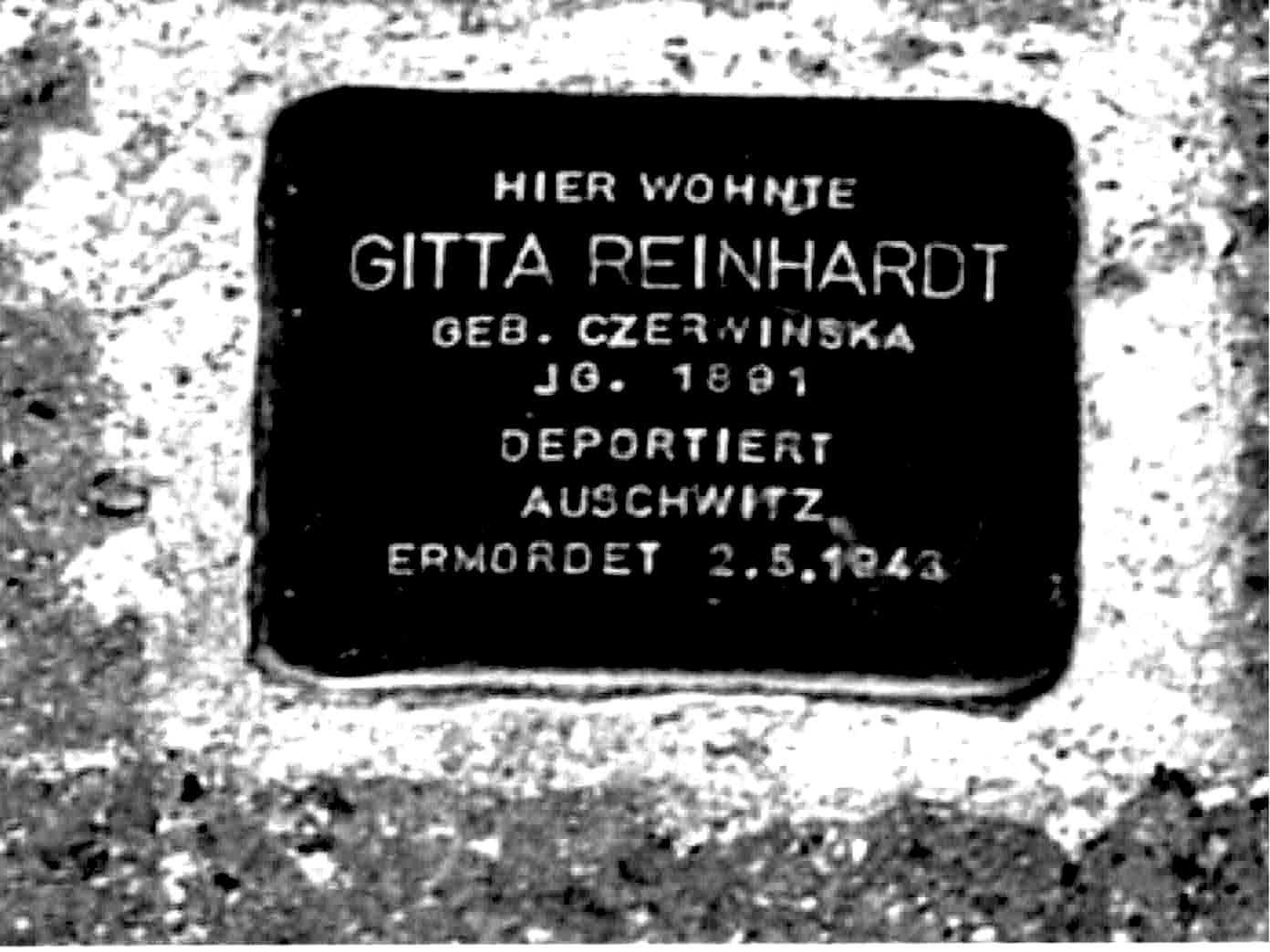 """Figure 10: """"Stolperstein"""" / Stumbling stone/ for Gitta Reinhardt, née Czerwinska, murdered in Auschwitz, May 2, 1943."""