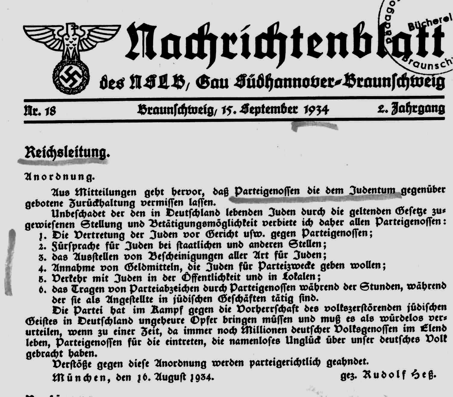 Figure 13: Avoidance of Jews - Order for party members, by the Deputy Führer, Rudolf Hess (Reichsleitung), September 15, 1934.