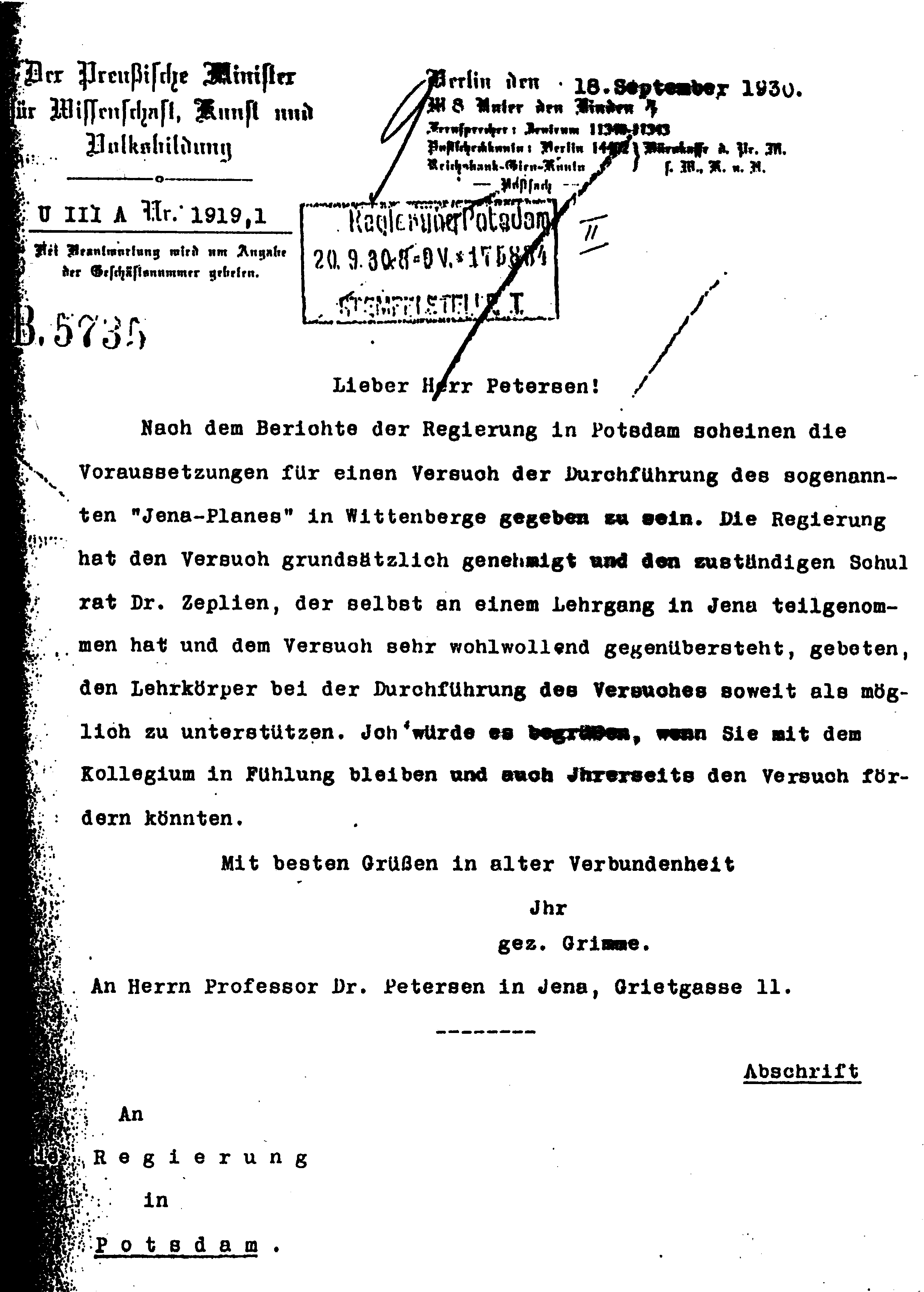 Figure 20: Letter from the Prussian Minister of Education, Adolf Grimme, dated September 18, 1930: Approval of the Jenaplan organisation of an elementaty school, in the town of Wittenberge.