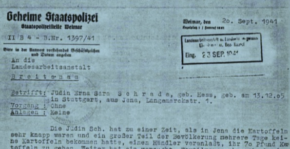 """Figure 21: Deportation of Erna Schrade by the Gestapo to the Breitenau labor camp near Kassel, after she had been denounced by her landlord (from the """"Files for Erna Sarah Schrade,"""" Schutzhäftling, Breitenau labor camp; Access: September 26, 1941; Source: ITS)."""