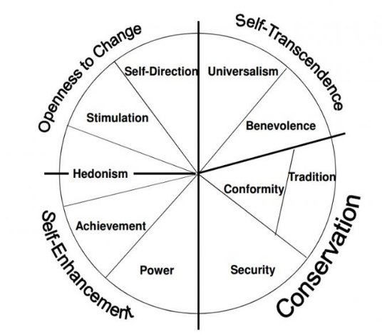 Figure 1. Theoretical model of relations among types of different values based on Schwartz's framework